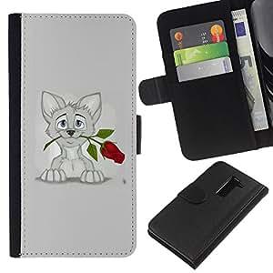 BearCase / Cuero de la tarjeta la carpeta del tirón Smartphone Slots Protección Holder /// LG G2 D800 /// Gatito Gato dulce gris del dibujo del arte Rose