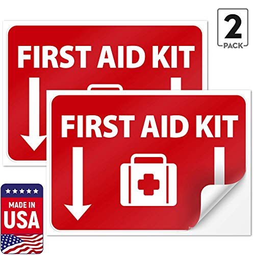 (2 Pack) First Aid Kit Sign Sticker, 10x7 Inches, 4 Mil Vinyl Self Adhesive Durable Decal Stickers, Long Lasting, Weatherproof and UV Protected, Made in USA by SIGO SIGNS from Sigo Signs