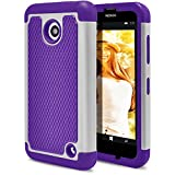 Nokia Lumia 635 Case, MagicMobile [Dual Armor Series] Impact [Shockproof] Resistant Ultra Protective Cover Hard Rugged Plastic + Soft Rubber Silicone Cute Case for Nokia Lumia 630 - (Purple - Gray)