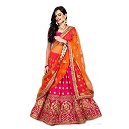 Fast Fashions Women's Satin Lehenga Choli (FF-5075_Pink_Free Size)