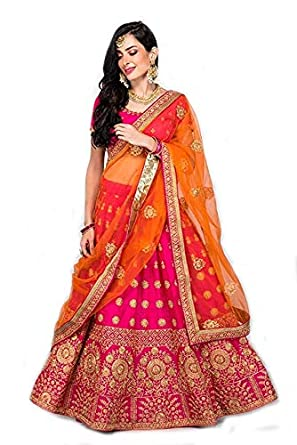 Fast Fashions Women's Satin Lehenga Choli (FF-5075, Pink, Free Size)