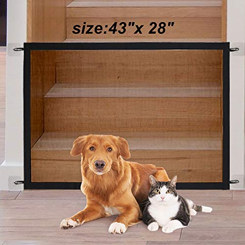 Magic Gate for Dogs, Pet Gate Dog Mesh Gate Safety Guard Gate for Stairs, Outdoor and Doorways Pet Isolation Net Safety…