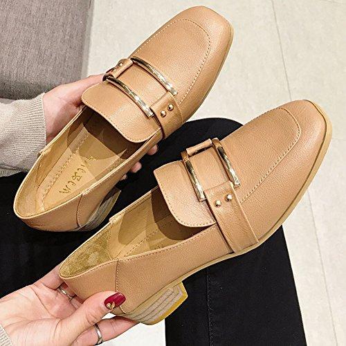 T-july Mocasines Cuadrados De Metal Para Mujer Con Zapatos De Tacón Alto Estilo Británico De Tacón Alto