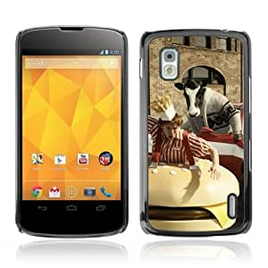 YOYOSHOP [Abstract Cow Chasing Man] LG Google Nexus 4 Case