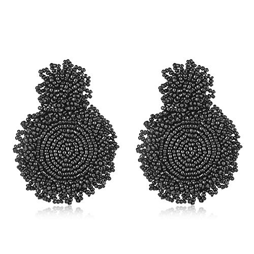 fastgo Statement Drop Earrings - Bohemian Beaded Round Dangle Earrings Studs, Jewelry Gift for Women Girls Friends Female Green/Black/White/Pink/Yellow/Blue/Beige