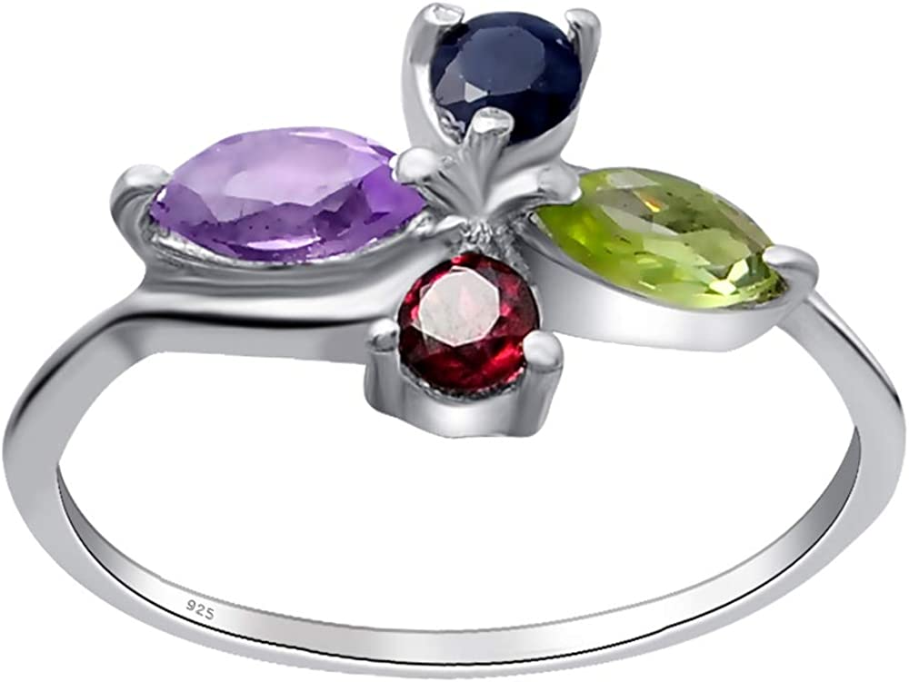 0.75 Ct Multi Gemstones Floral Sterling Silver Ring for Women