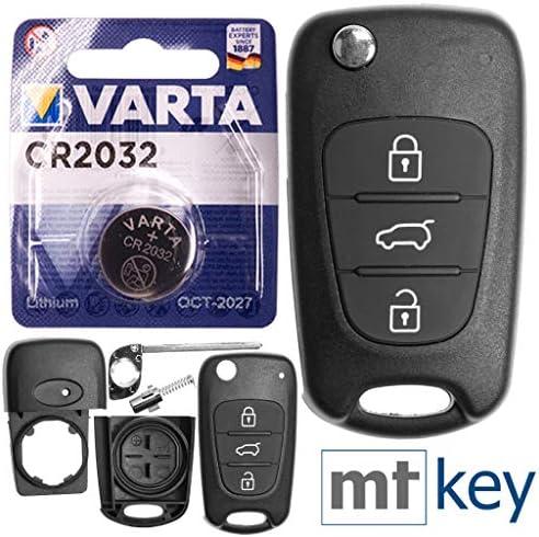 Autoschlüssel Funk Fernbedienung Austausch Gehäuse Mit 3 Tasten Rohling Batterie Kompatibel Mit Kia Rio Iii Ceed