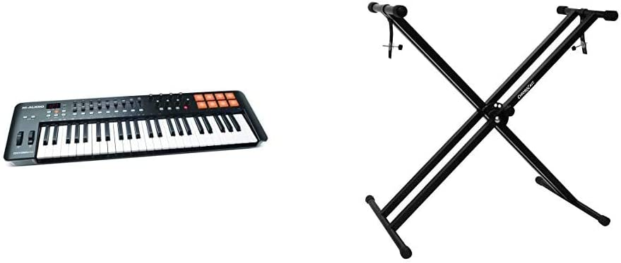49 Key USB//MIDI Keyboard With 8 Trigger Pads /& ChromaCast CC-KSTAND Double Braced X-Style Pro Series Keyboard Stand with Locking Straps M Audio Oxygen 49 IV