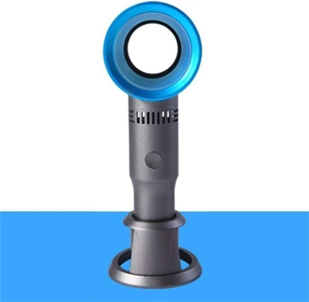XIANGNAIZUI Mini Handheld Bladeless Fan Desk//Table Air Cooler USB Rechargeable Detachable Base Portable Ventilator with LED Light Display Color : Blue