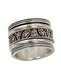 Energy Stone TAJ Mahal Sterling Silver Lace Work Spinner Meditation Spinning Ring (Style# SR67)