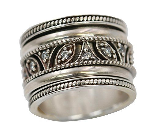 Energy Stone TAL MAHAL Sterling Silver Lace Work Spinner Meditation Spinning Ring (Style# US67) (9)