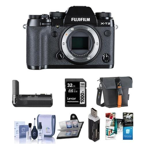 Fujifilm-X-T2-Mirrorless-Digital-Camera-Body-Black-Bundle-With-Fujifilm-Vertical-Power-Booster-Grip-Camera-Case-32GB-SDHC-U3-Card-Cleaning-Kit-Memory-Wallet-Card-Reader-Software-Package