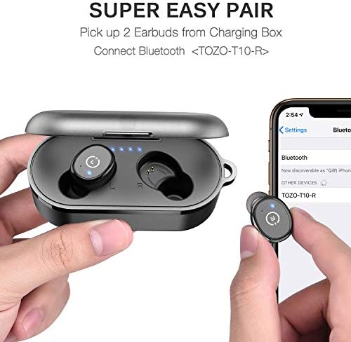 TOZO T10 Bluetooth 5.0 Wireless Earbuds with Wireless Charging Case IPX8 Waterproof TWS Stereo Headphones in Ear Built in Mic Headset Premium Sound with Deep Bass for Sport Black 51uBk6qAkwL