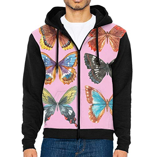 Mens Polyester Big Sizes Zip Up Hoody Hooded Zipper Top Warm Pullover Hoodies Watercolor Butterflies Set Tracksuit Sweatshirt Hoodie (S to 2XL)