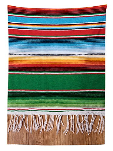 Tablecloth Boho Serape Blanket with Horizontal Stripes and Lines Authentic Picture Dining Room Kitchen Rectangular Table Cover Multi ()