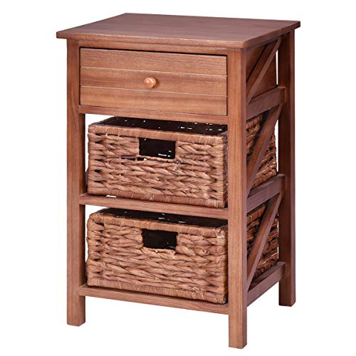Giantex 3 Tier Wooden End Table W/ 1 Drawer and 2 Straw Baskets Bedside Sofa Table Organizer Home Furniture for Bedroom Living Room, Brown Nightstand (1)]()