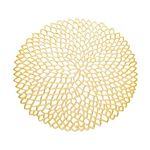 - Onpiece 38cm Round Placemat Dining Tableware Pad Hollow Out Flower Insulation Decorative Metallic Placemat PVC Coaster Pads Bowl Mats (1)