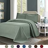 3 Piece Superior Comfy Embossed Bedspread Set,Oversized Ultrasonic Thermal Pressing Embossed Coverlet Set,Moderate Weight Bed Spread,TINOS (King, Sage)