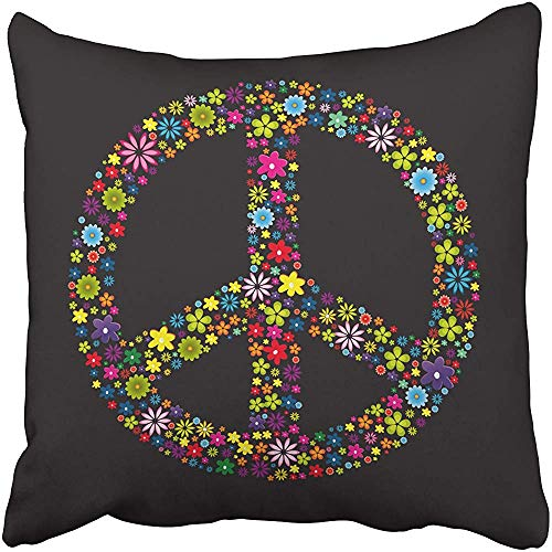 - Throw Pillow Cover Polyester 18X18 Inches Peace Flower Power 2 Sign Symbol Love Floral Circle Abstract Bright Decorative Cushion Pillow Case Square Two Sides Print for Home