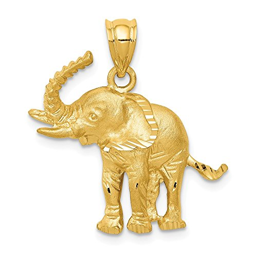 (Jewels By Lux 14K Yellow Gold Elephant Pendant)