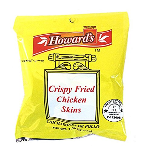 Howard's Crispy Fried Chicken Skins - Chicharrones de Pollo, 1.5oz, Pack of 4