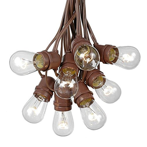 37.5 Foot S14 Edison Outdoor String Lights - Commercial Grade String Lights - Backyard Garden Gazebo – Cafe Market Light Set – Vintage Patio String Lights - Brown Wire - 25 Clear S14 Bulbs by Novelty Lights