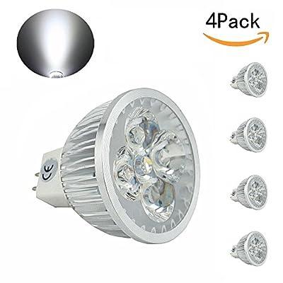 CTKcom LED Bulbs MR16 GU5.3 Base LED Spotlight (4 Pack)- 5W 120Volts Spotlight Equal to 50W Halogen Bulbs 6000K Cool White 330LM Spotlight for Landscape Accent Recessed Track Lighting bulbs