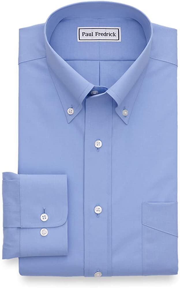 Paul Fredrick Mens Classic Fit Non-Iron Cotton Solid Dress Shirt