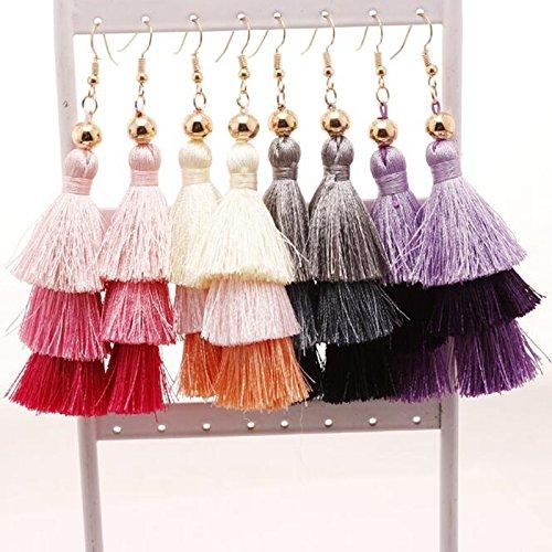 BFF Jewelry Bohemian Handmade Stud Hook Earrings 3 Layered Fringe Thread Tassel for Girls Women Green