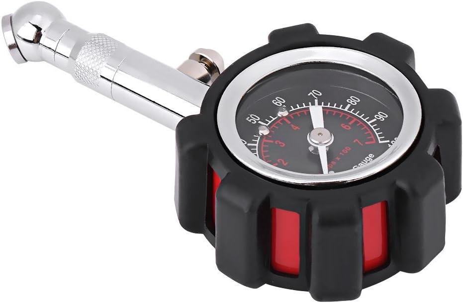 EVGATSAUTO Hand Air Pressure Gauge 0-100PSI Manual Hand Tire Air Pressure Gauge Meter Tester Fit for Car Truck Motorcycle Bike