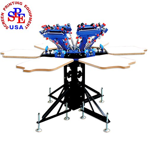 6 Color 6 Station Double Wheel Screen Printing Machine T-shirt Heavy Duty DIY