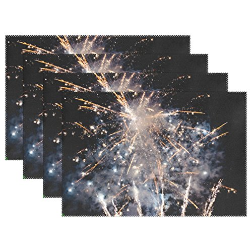 QYUESHANG Fireworks Night Sparklers Event Party Playful Placemats
