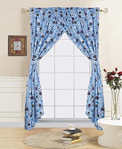 GorgeousHome (@#2) MVP SPORTS Double Ruffle Boys Design Comforter or Sheet Set or Window Curtain Panel or Valance Kids/Teens Complete Your Set (2PC WINDOW CURTAIN SET)