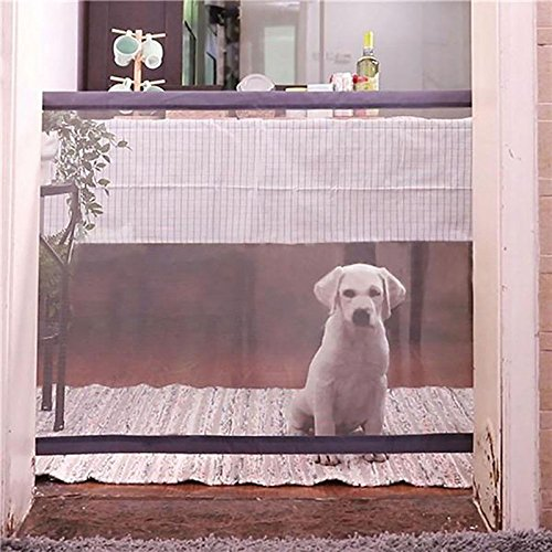 Magic Gate for Dogs - Portable Folding Mesh Screen Gate - for House Indoor Use - Dog Safe Guard Install Anywhere - As Seen On TV by Infina (Image #4)
