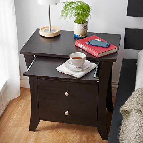 Enitial Lab Devin 2-Drawer Wooden Modern Nightstand with Pull-Out Shelf and Open Compartment