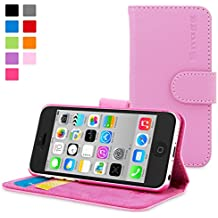 iPhone 5C Case, Snugg Candy Pink Leather Flip Case [Card Slots] Executive Apple iPhone 5C Wallet Case Cover and Stand - Legacy Series