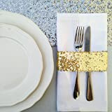 TRLYC 50pcs Glitz Sequin Napkin Holders 5.5cm x 14.0cm -Gold