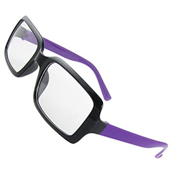 24f30dd5372 Deal Mux Woman Black Plastic Glasses Purple Arms Clear Lens Plain Glasses   Amazon.co.uk  Sports   Outdoors