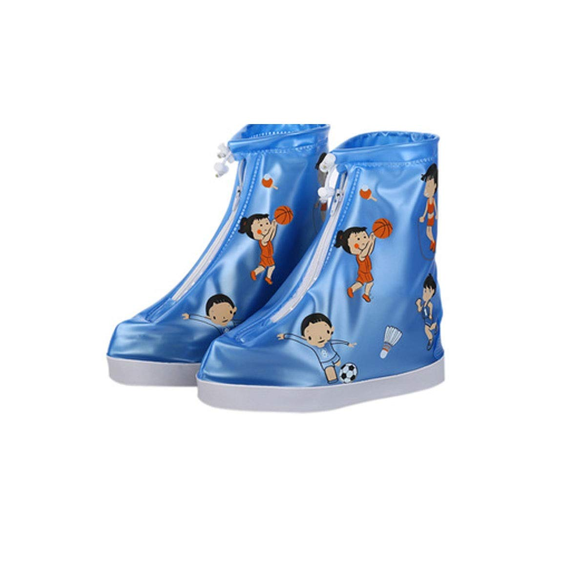 WUHUIZHENJINGXIAOBU Rain Boots, Non-Slip Thick Wear-Resistant Rubber Waterproof Rain Boots, White, Red, Blue, Pink Shoe Covers That can be Worn on Rainy Days, (Color : Blue, Size : S)