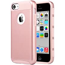 iPhone 5C Case, ULAK Slim Fit Lightweight 2in1 Rugged Flexible TPU Hard Plastic Hybrid Anti Scratches Dual Layer Shock Absorbtion Protective Cover for Apple iPhone 5C - Rose Gold
