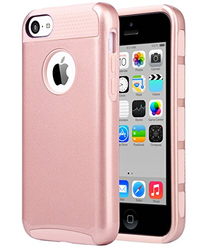 iPhone 5C Case, ULAK Slim Fit Lightweight 2in1 Rugged Flexible TPU Hard Plastic Hybrid Anti Scratches Dual Layer Shock Absorbtion Protective Cover for Apple iPhone 5C - Rose Gold (Tpu Plastic Skin)