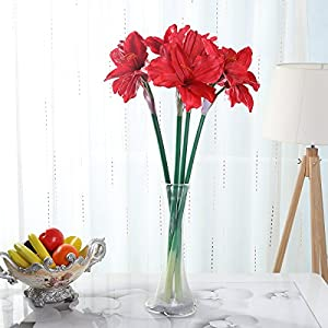 WELMAY 31.8'' PU Latex Hippeastrum Artificial Barbadoslily Flowers Real Touch Home Party Centerpiece Decoration Pack of 4 16