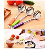 LiPing 9.8in Stainless Steel Colorful Long Handle Spoons Kitchen Cooking Utensil Tool Soup Teaspoon Catering/Great Gift For Chefs & Foodies (Colander)