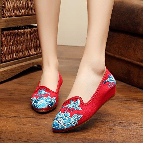 Zapatos de esquí bordados, suela de tendón, estilo étnico, zapatos de tela femenina, a la moda, cómodo, casual en el aumento rojo