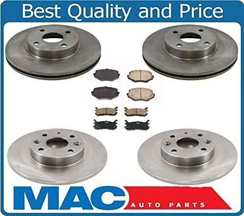 Mac Auto Parts 21048 94-05 Mazda Miata MX5 10 Inch Front Rotors & 9 3/4 Inch Rear Rotors & Brake Pads (Inch Rotor Front 10)