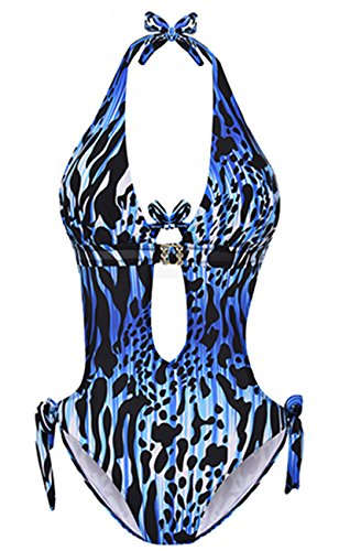 (Eomenie One Piece Swimwear, Women's Leopard Monokini Swimsuit (S/US:4-6, Blue))