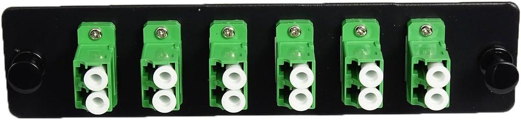 RiteAV LGX Footprint LC Adapter Panel 6 Ports Loaded w//6 LC Duplex Singlemode APC Adapters Black