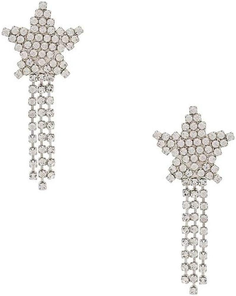 Wbeiba - Pendientes de mujer de oro blanco revestido de cobre, cristal incrustado, pendientes de estrella de borla, hipoalergénicos