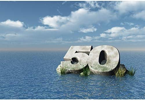 Cassisy 3x2m Vinilo Fondo de Fotografia 50 cumpleaños Interminable Mar Azul Cielo Azul Nubes Blancas Plantas Verdes Telón de Fondo Photo Booth ...