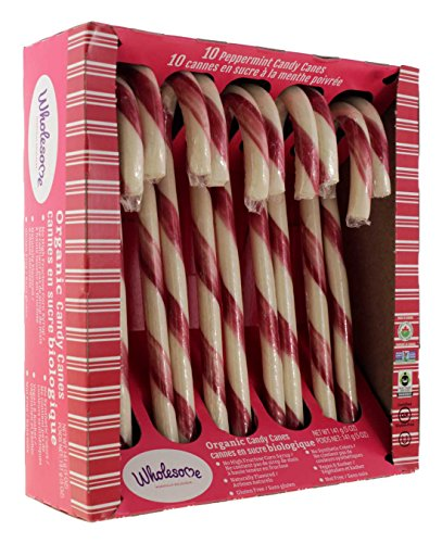 Wholesome organic peppermint candy cane flavor Christmas Kosher Gluten free fair trade certified for kids children family